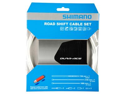 Shimano Dura Ace gearkabelsæt - Road Polymer - For-og bagskifter kabel komplet - Hvid