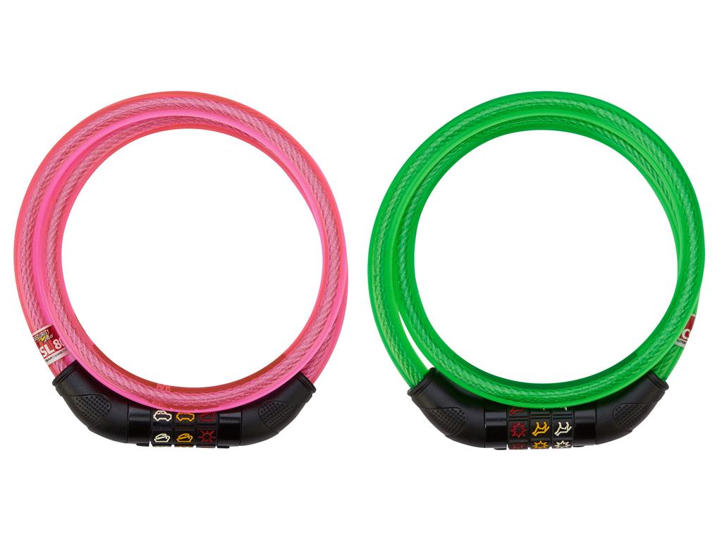 Security Plus kabellås Pink med motiv kode - Nemt for børn at lære | cykellås