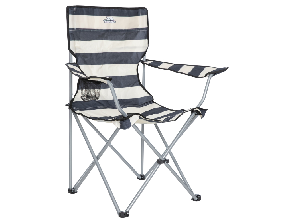 Image of   Trespass Branson - Foldbar campingstol med drinksholder - Navy Stripe