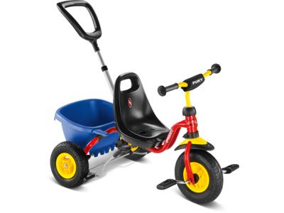 Puky - CAT 1 L - Trehjuling - Med flak och hjälphandtag - Röd/Gul