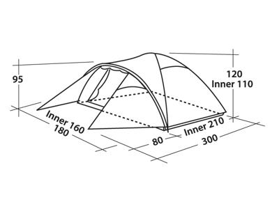 Easy Camp Quasar 300  - Telt - 3 Personer - Grøn