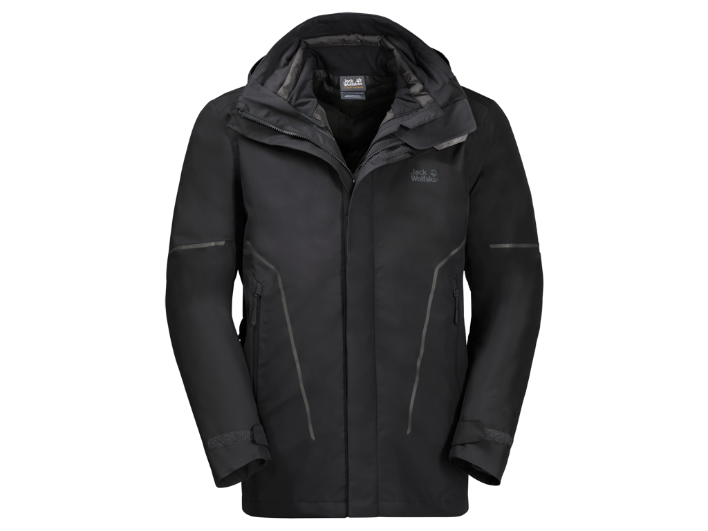 Image of   Jack Wolfskin Taiga Trail 3in1 - Vandtæt 3i1 herrejakke - Sort - Str. S