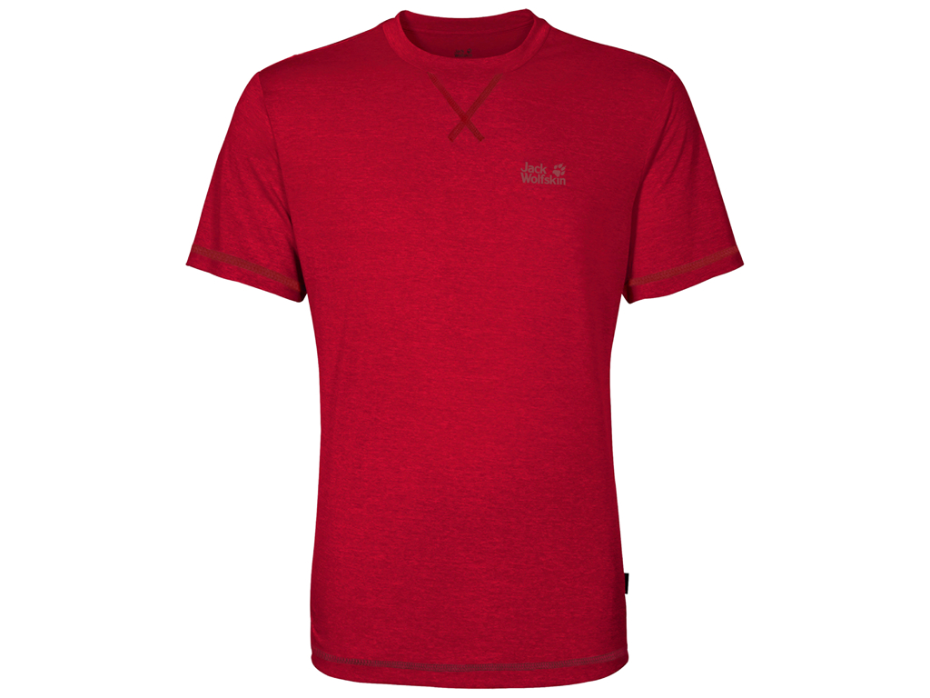 Image of   Jack Wolfskin Crosstrail T - T-Shirt Hr. Str. XL - Ruby red