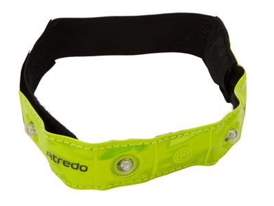 Atredo - Refleksbånd med 4 LED lys - Med velcro - Gul