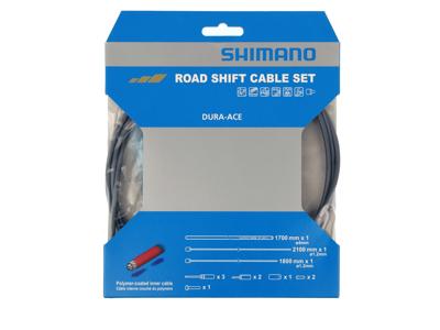 Shimano Dura Ace gearkabelsæt - Road Polymer - For-og bagskifter kabel komplet - Grå