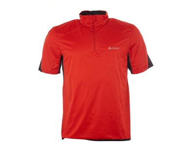Odlo - Shirt s/s turtle neck 1/2 zip - Vindtæt løbe t-shirt - Herre - Rød - Str. L