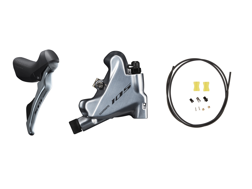 Image of   Shimano 105 STI og hydraulisk bremsegreb højre sølv - ST-R7020R og BR-R7070R