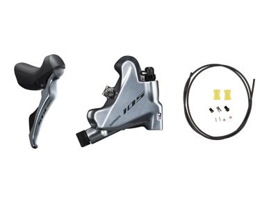 Shimano 105 STI og hydraulisk bremsegreb højre sølv - ST-R7020R og BR-R7070R