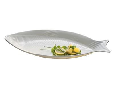 Melamin fiskefad hvid 58x28 cm