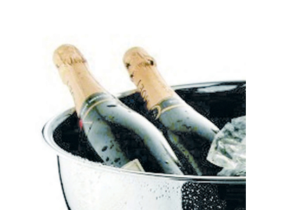 Champagnebowle i stål 40 cm bred kant