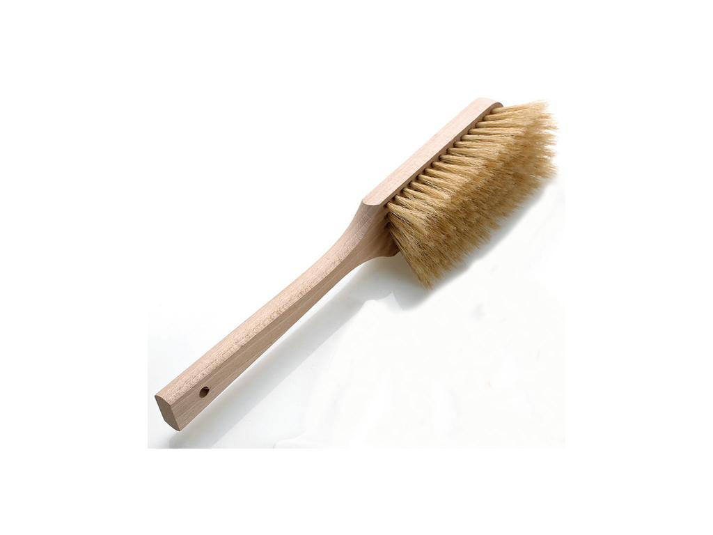 Melbørste med bløde hår og træskaft
