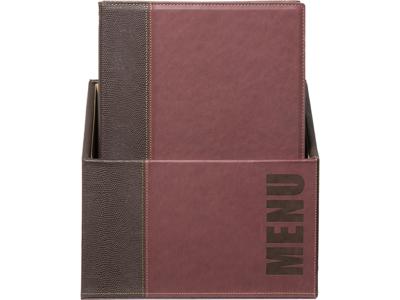 Menukort Box 20 stk A4 vinrød Trendy