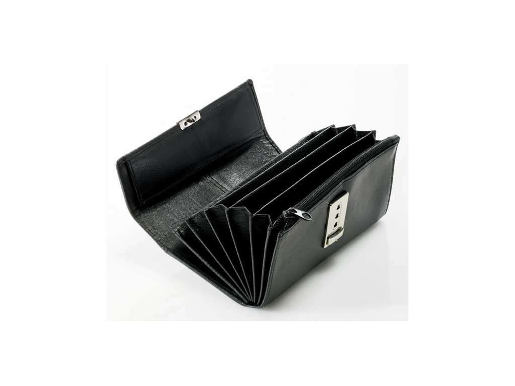 Pung læder 5 fag sort med lås