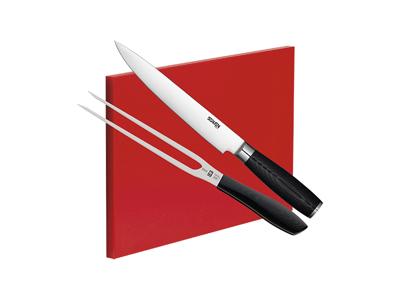 Grillsæt til Kamado. Inkl. Kniv, Stegegaffel & Skærebræt