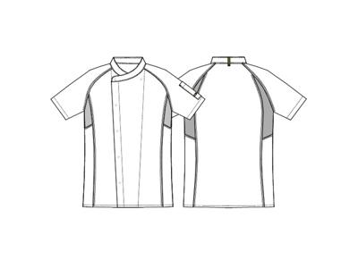 Kokkejakke sort m/grå flatlock - Flere Varianter