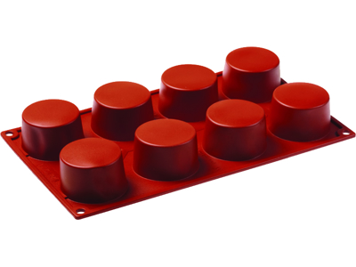 Baking mould Silicone, cylindrical 8 moulds Ø 60 mm