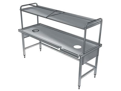 Sorteringsbord med avfallshål och överhylla
