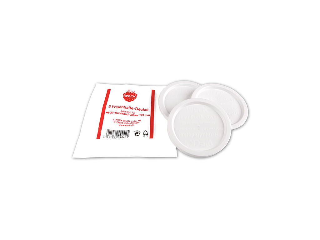 Weck plastlåg hvidt Ø60 5 stk