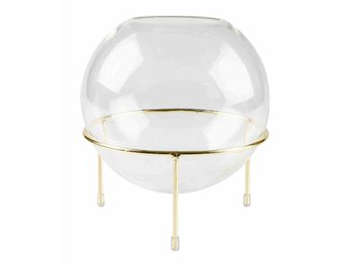 Vase glas rund m/ben Ø18 cm