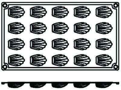 Bageform Silicone 1/3 GN, 20 madeleines