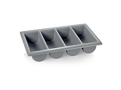 Bestikkasse 4 rum 1/1 GN i grå plast