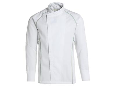 Kokkejakke hvid m/grøn flatlock XL