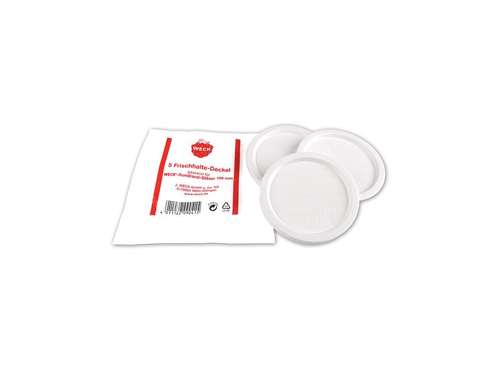 Weck plastlåg hvidt Ø100 5 stk