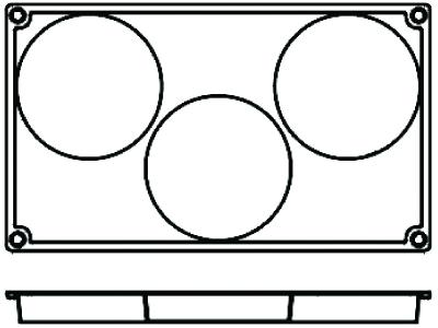 Bageform Silicone 1/3 GN, 3 runde
