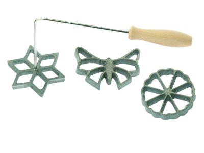 Vaffeljern håndtag med 3 forme