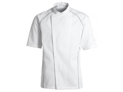 White Chef Jacket with Grey flatlock size S