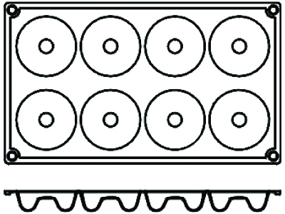 Bageform Silicone 1/3 GN, 8 runde savari