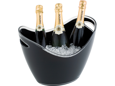 Champagne skål 6 ltr sort 35x27 cm