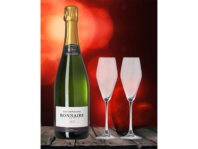 Valentinspakke Champagne & 2 glas