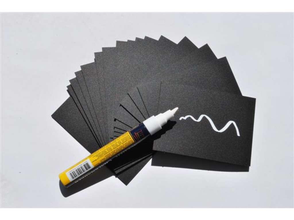 Tuscher, papirskilte og etiketter