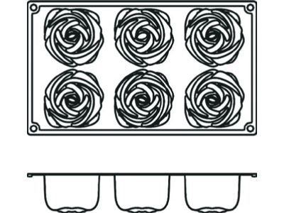 Bageform Silicone 1/3 GN, 6 roser