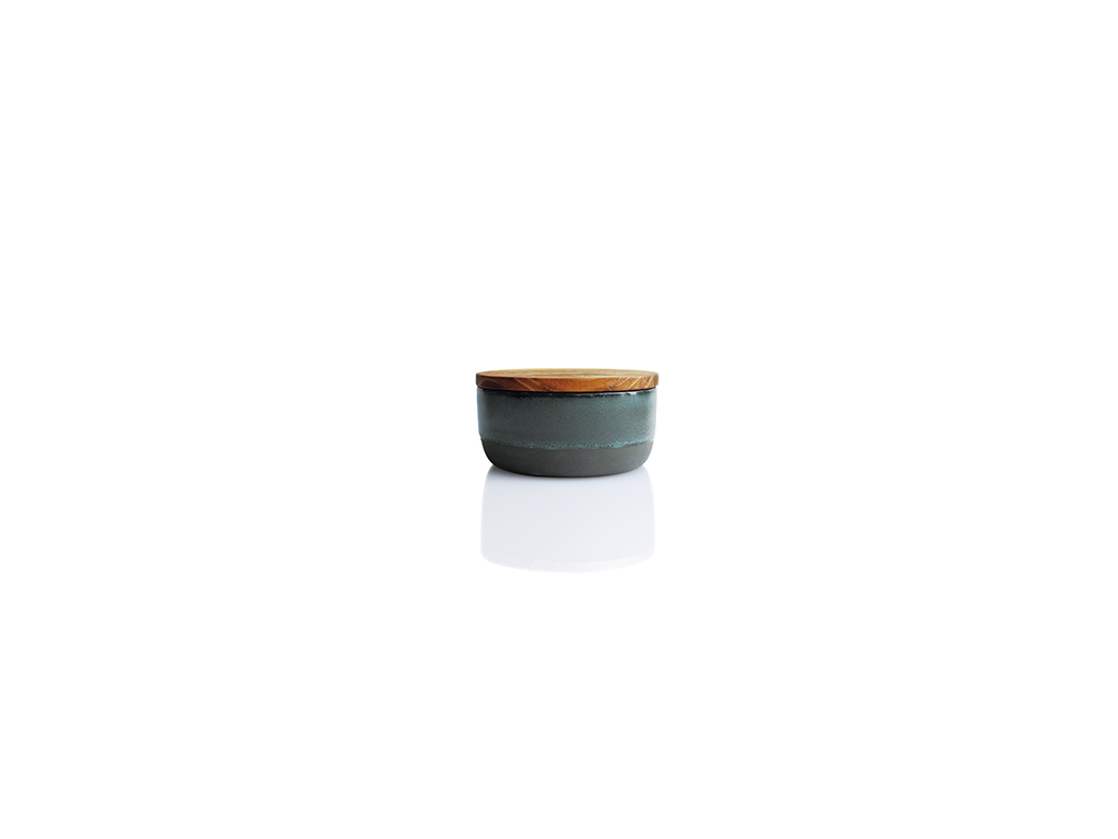 RAW Skål m/låg i teaktræ Ø9,5 grøn