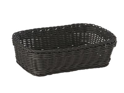 Brödkorg, svart, av polypropylen, rektangulär