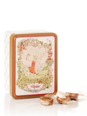Tillykke - 125g karameller i smuk dåse