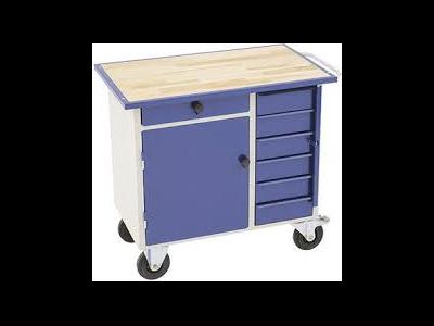 Værkstedsbord, skabe og lagerkasser