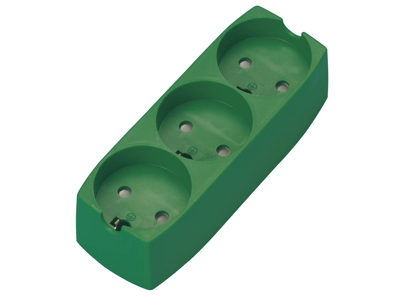 Stikdåse 3-stik m/j u/ledning grøn