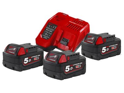 Milwaukee Batteripakke NRG-503, 3×18V/5,0Ah + lader M12-18FC