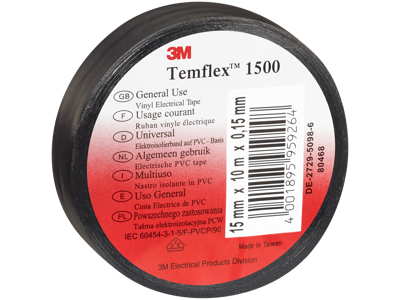 Temflex eltape 15mm×10m sort