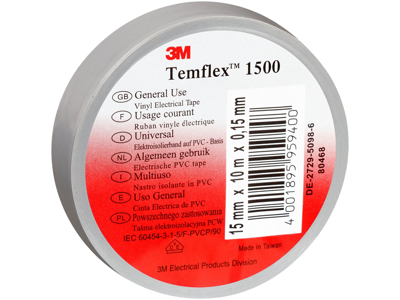 3M Temflex eltape 15mm×10m grå