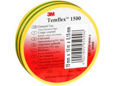 3M Temflex eltape 15mm×10m gul/grøn