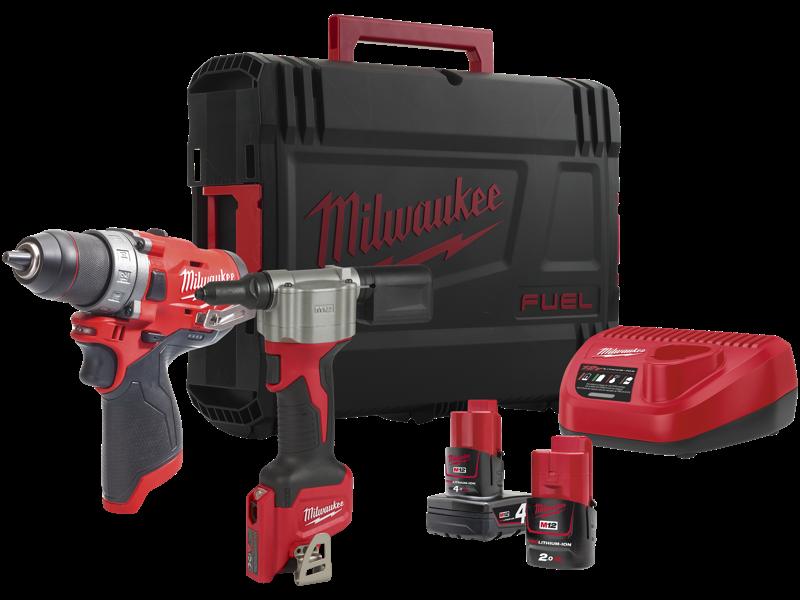 Milwaukee Powerpack 2 maskiner+2 batterier M12 FPP2S-422X