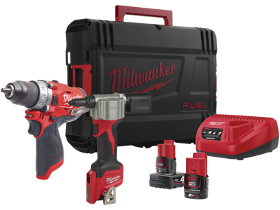 Milwaukee Powerpack 2 maskiner+2 batterier M12 FPP2S-422X