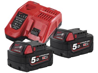 Milwaukee Batteripakke NRG-502, 2×18V/5,0Ah + lader M12-18FC