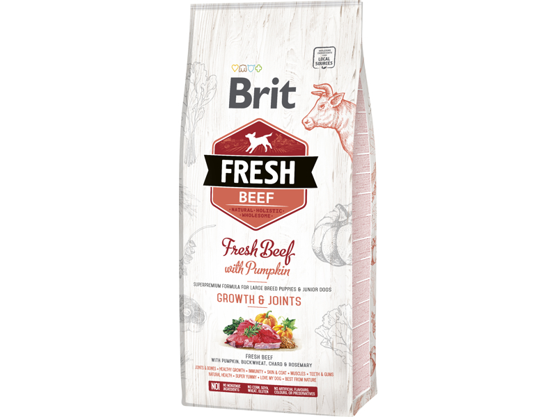 BRIT FRESH PUPPY LARGE GROWTH AND JOINTS FRESH BEEF & PUMPKIN HUNDEFODER