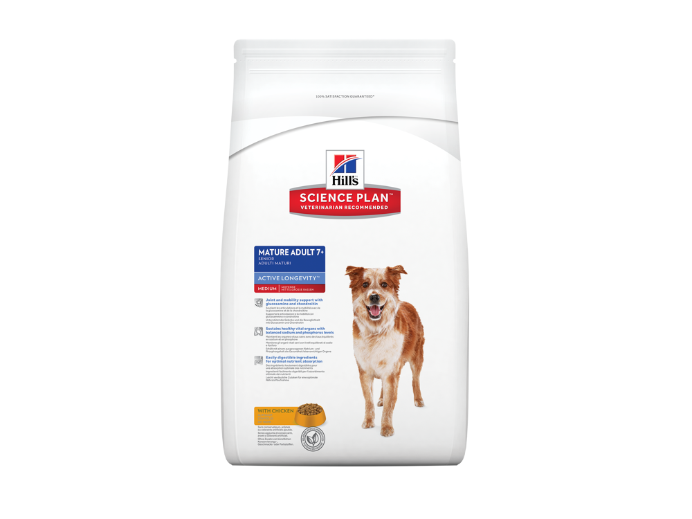 HILL'S SCIENCE PLAN CANINE MATURE ADULT 7+ ACTIVE LONGEVITY MEDIUM WITH CHICKEN HUNDEFODER