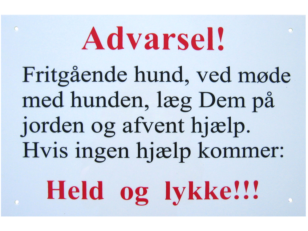 KW ADVARSELSKILT
